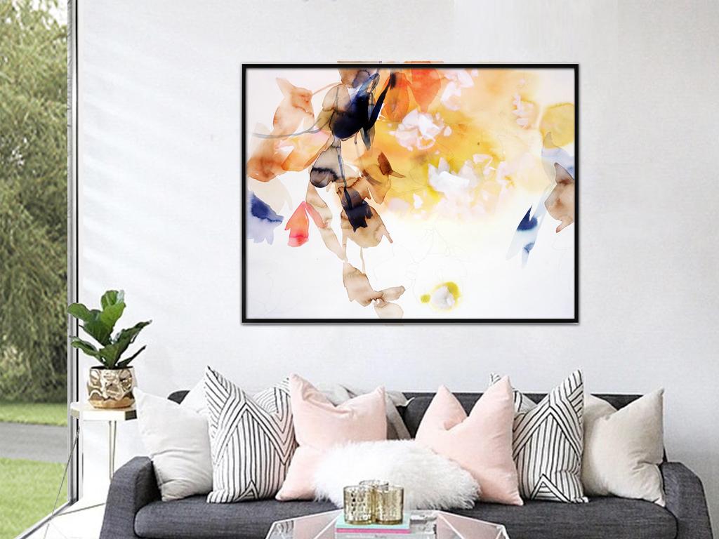 唯美手绘水彩客厅玄关装饰画