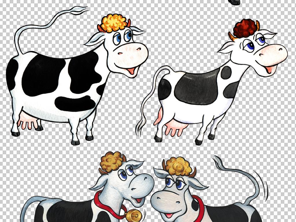 牛奶                                          卡通牛手绘奶牛