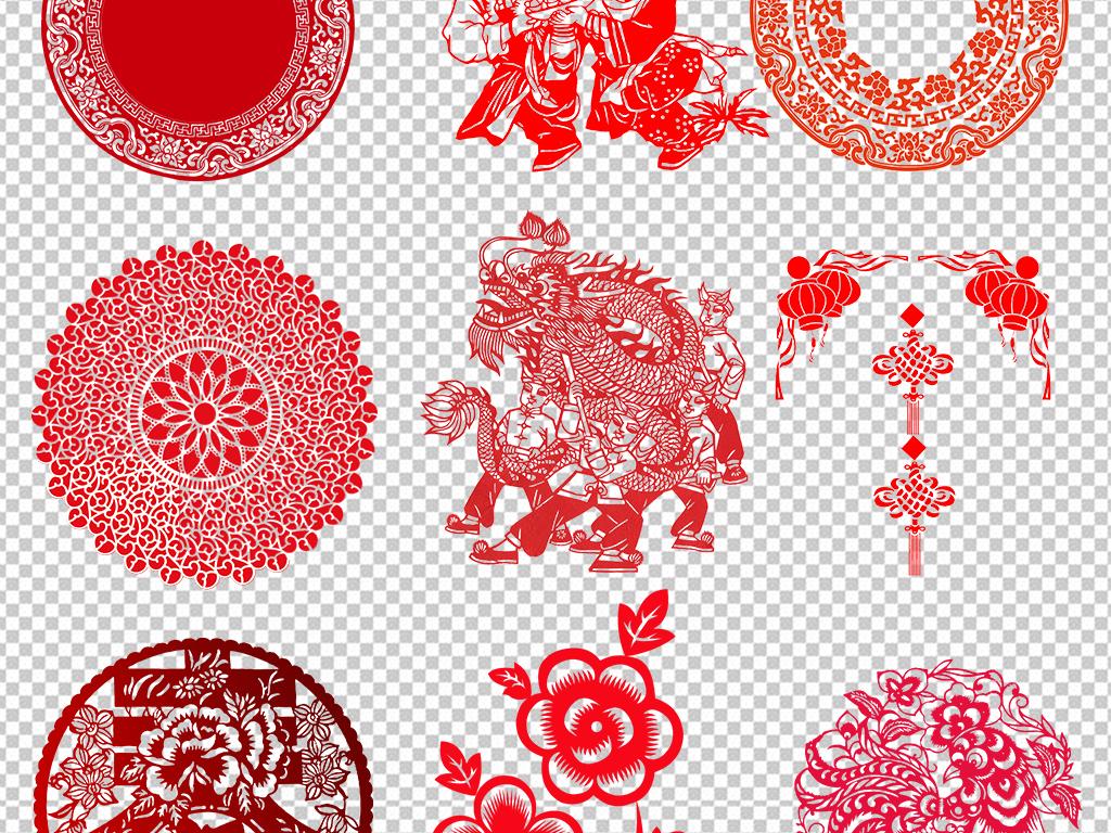 窗花红色边框青花瓷圆形边框卷轴png边框古典边框花纹边框素材花边