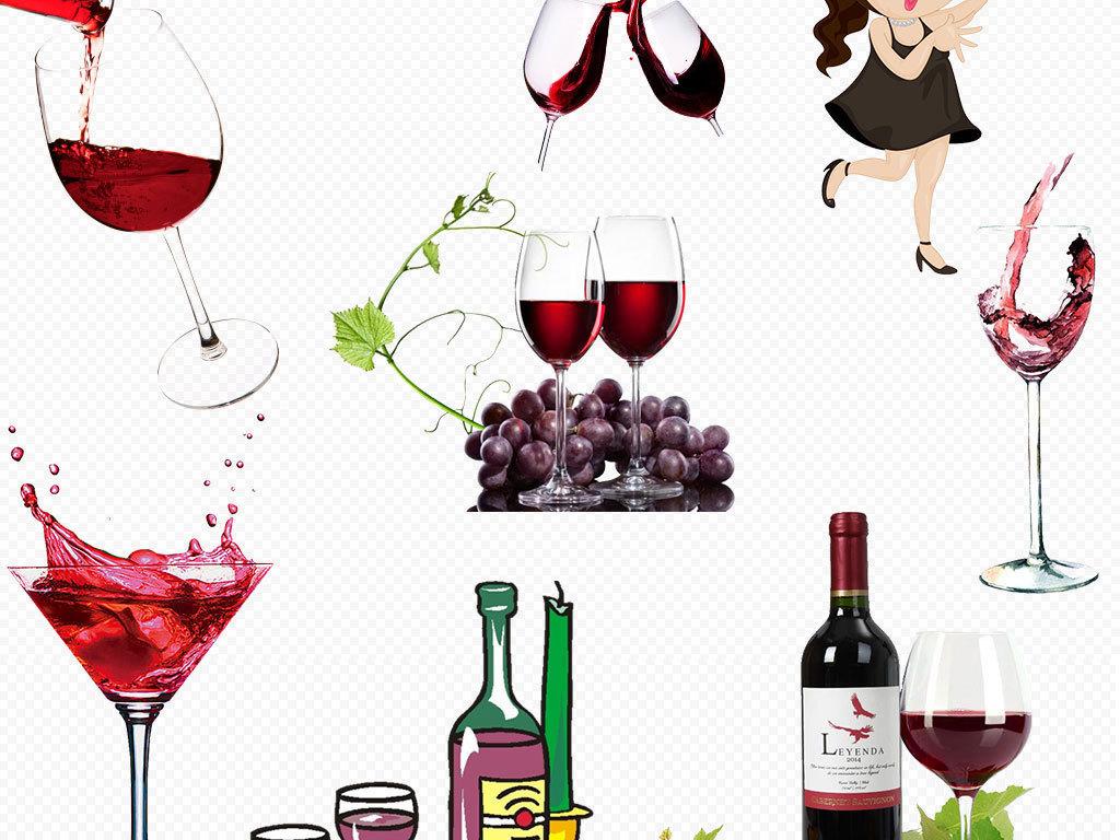 卡通手绘葡萄红酒元素png透明背景