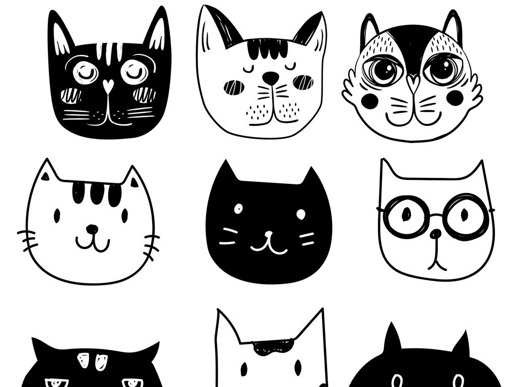 小清新黑白卡通动物设计矢量素材