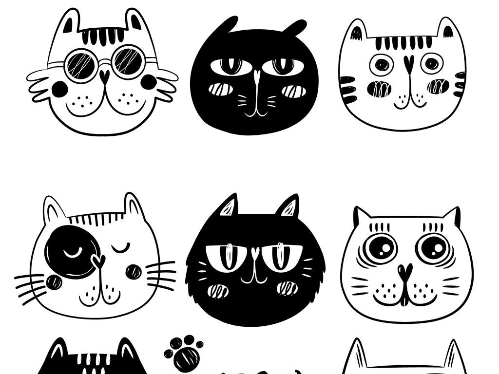 小清新黑白素描猫咪卡通动物设计矢量素材