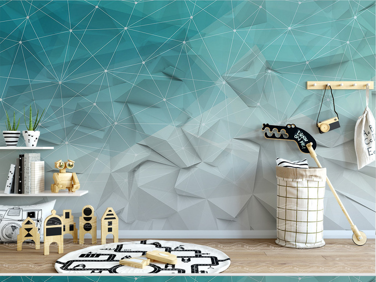 北欧简约抽象线条几何电视背景墙