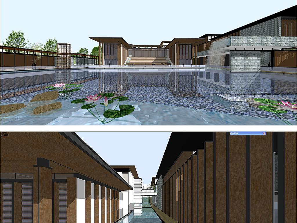 简约木结构中式会所su模型