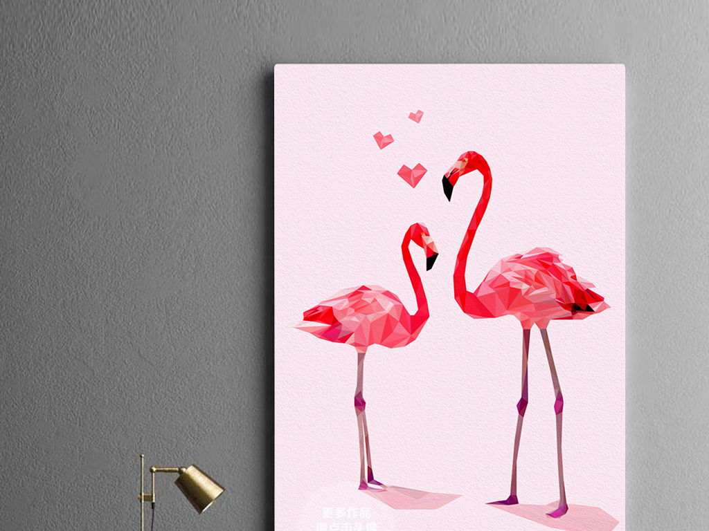 北欧手绘小清新火烈鸟粉色无框画装饰画
