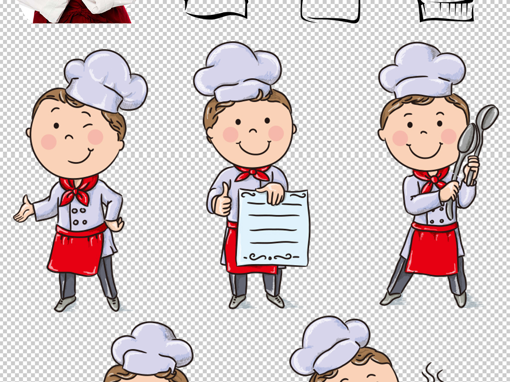 卡通厨师厨师帽png海报素材