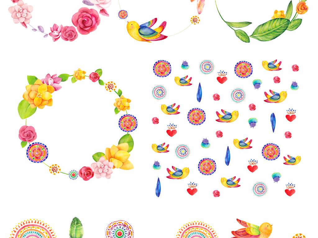 北欧创意手绘绿叶树叶花环免扣png素材