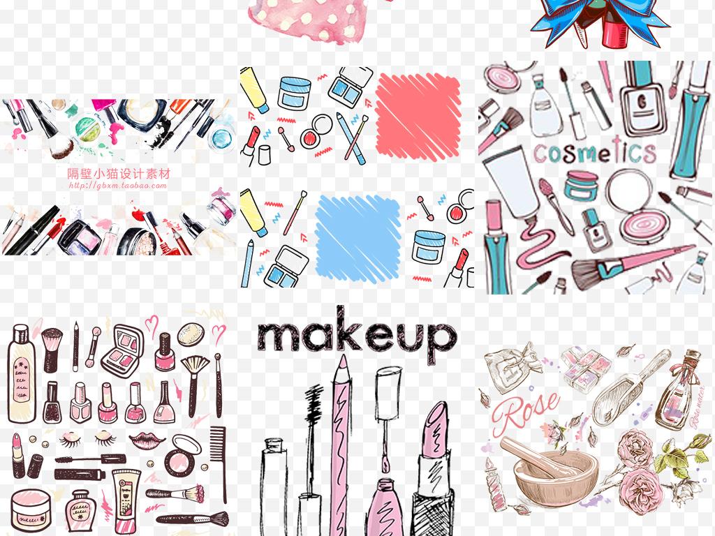 手绘化妆品指甲油彩妆工具海报展板素材