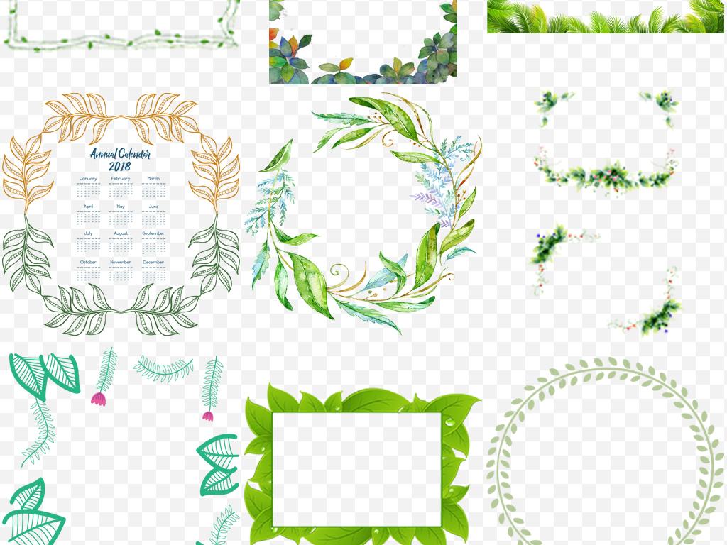 绿色树藤树叶装饰边框海报png素材(图片编号:16866211