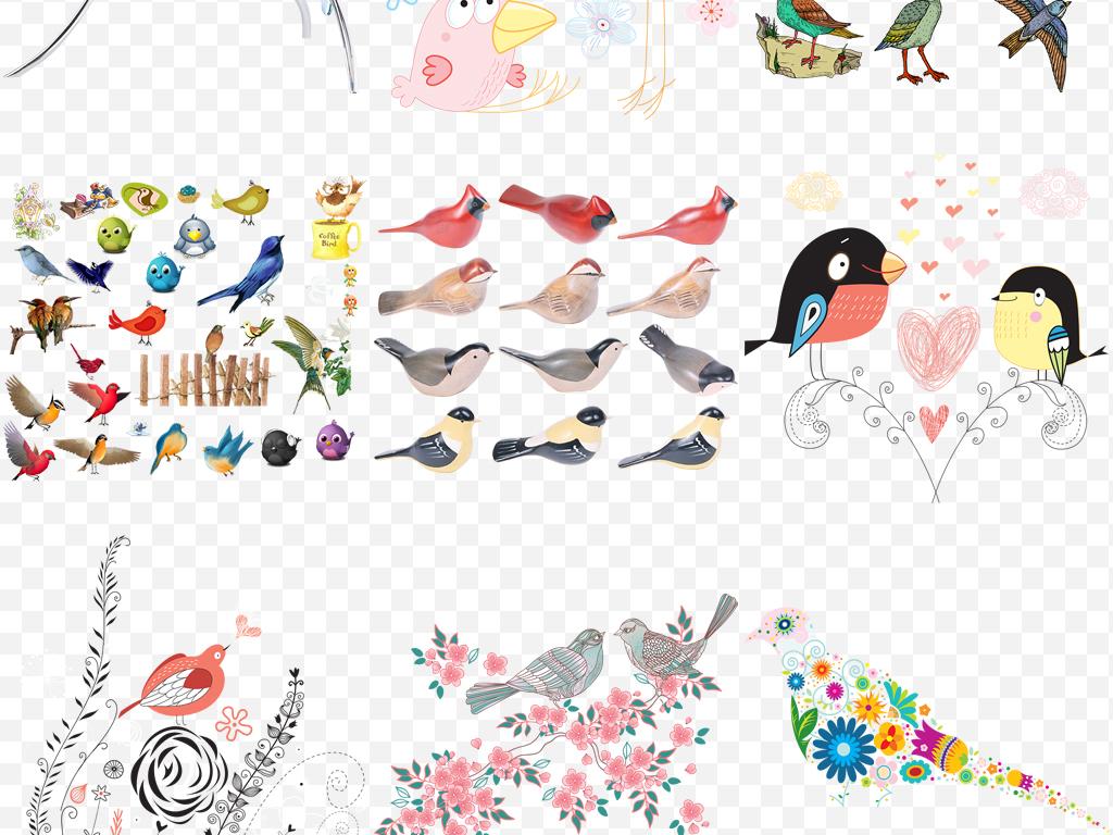 手绘小鸟花鸟卡通小鸟水彩小鸟蜂鸟可爱动物