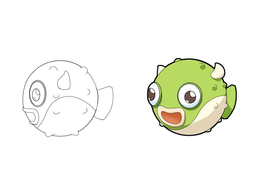 卡通动物形象设计河豚