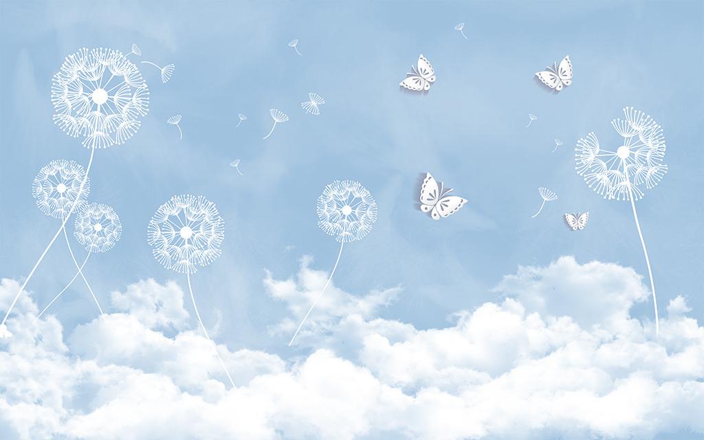蒲公英立体蝴蝶云电视背景墙