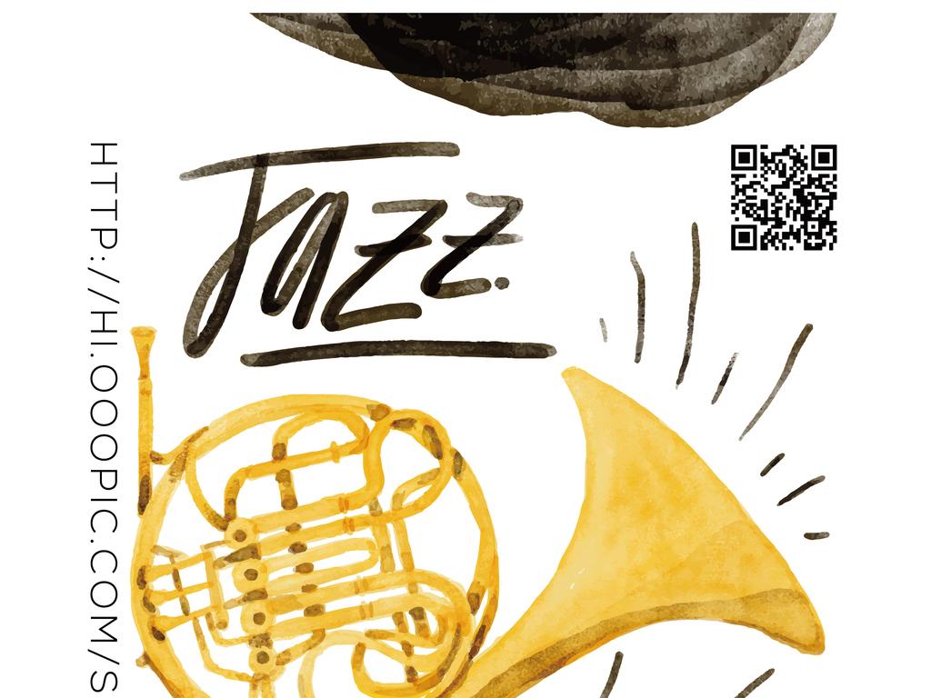 简约文艺手绘爵士音乐会演奏会矢量宣传海报