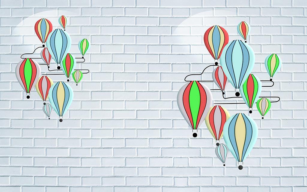手绘轻气球热气球砖墙电视背景墙