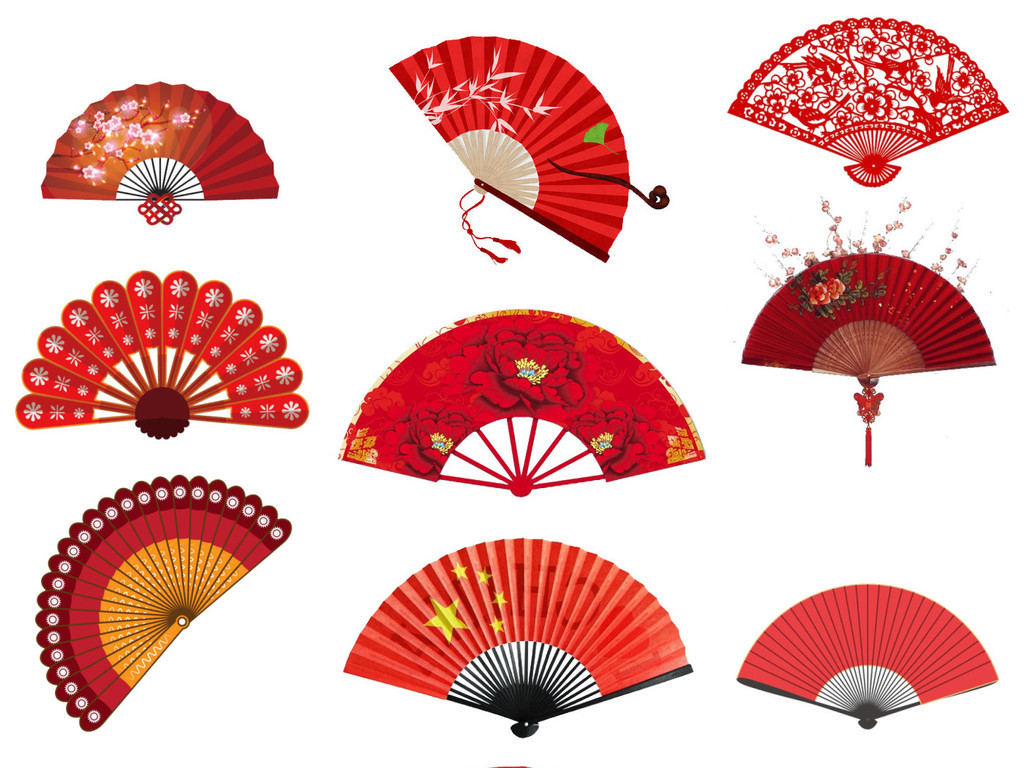手绘卡通日系古风中国风红色扇子免扣png