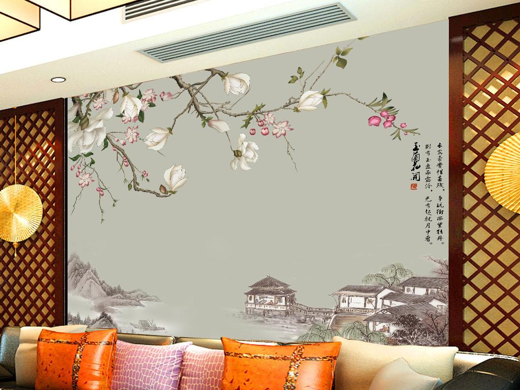简欧高清手绘玉兰花开客厅电视背景墙
