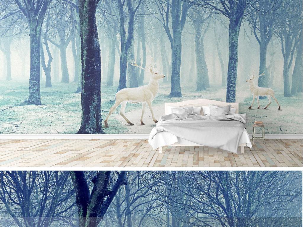 森系梦幻森林麋鹿玄关背景墙装饰画