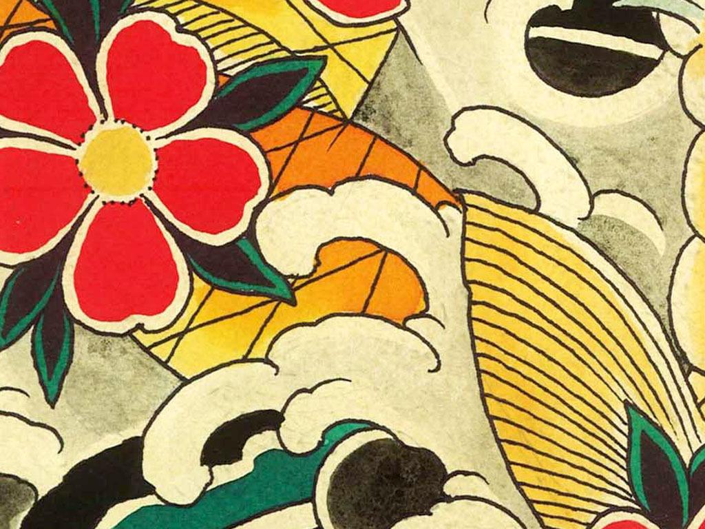 高清日本浮世绘手绘锦鲤刺青装饰画