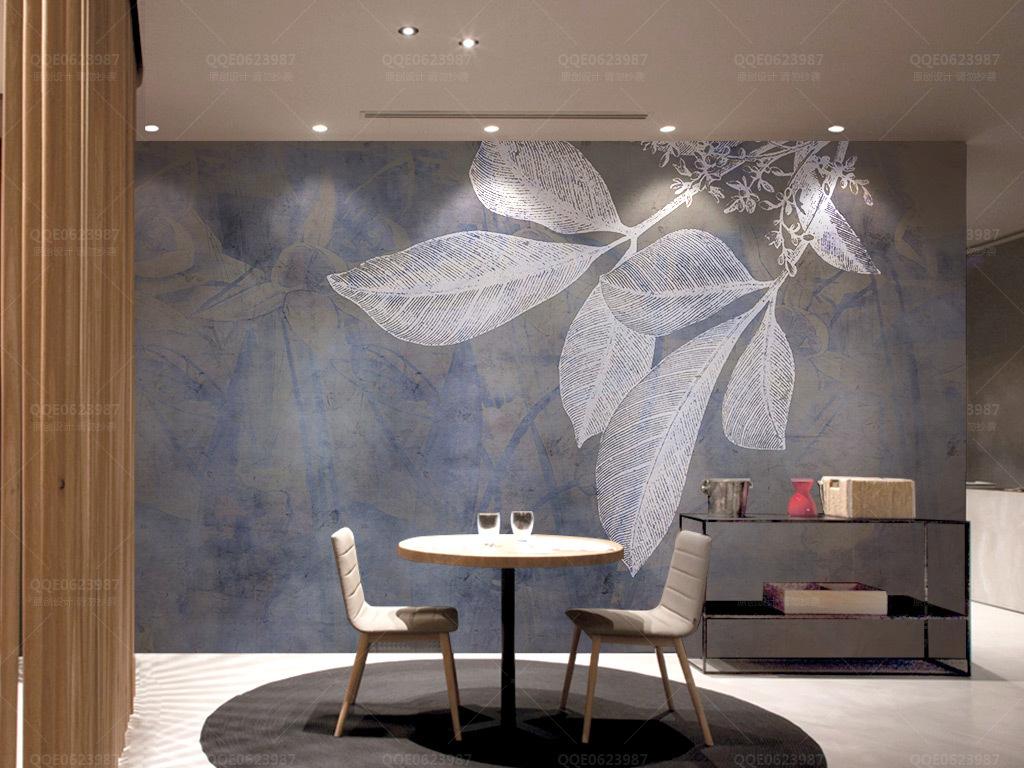 现代时尚藏蓝线条树叶北欧纹理电视背景墙图片