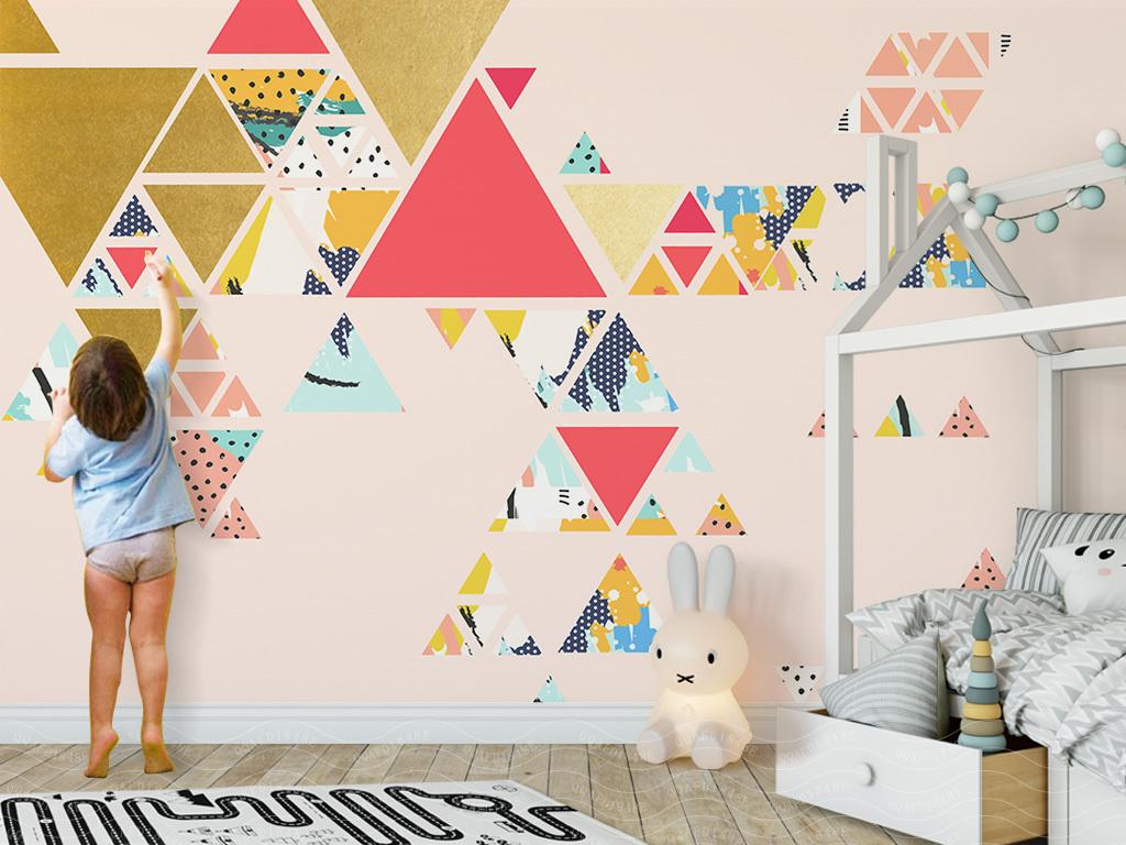 背景墙|装饰画 电视背景墙 欧式电视背景墙 > 北欧简约几何抽象手绘
