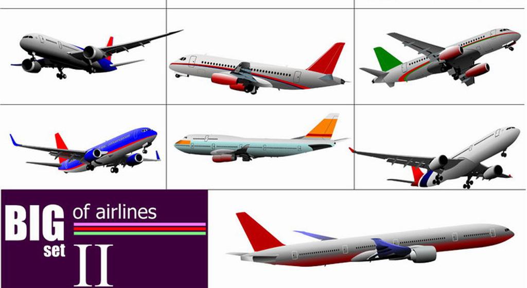 民用民航航空飞机矢量图集ai矢量图平面设计素材