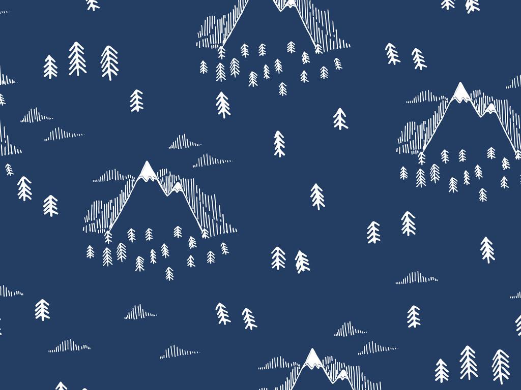 新款手绘山峰树林设计图