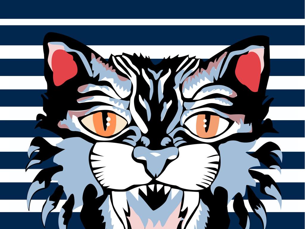 新款手绘猫头条纹