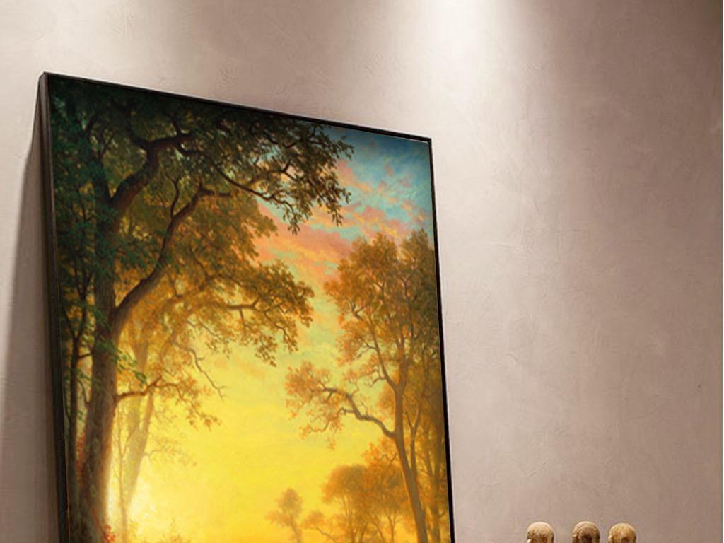 梦幻森林驯鹿麋鹿手绘油画装饰画无框画