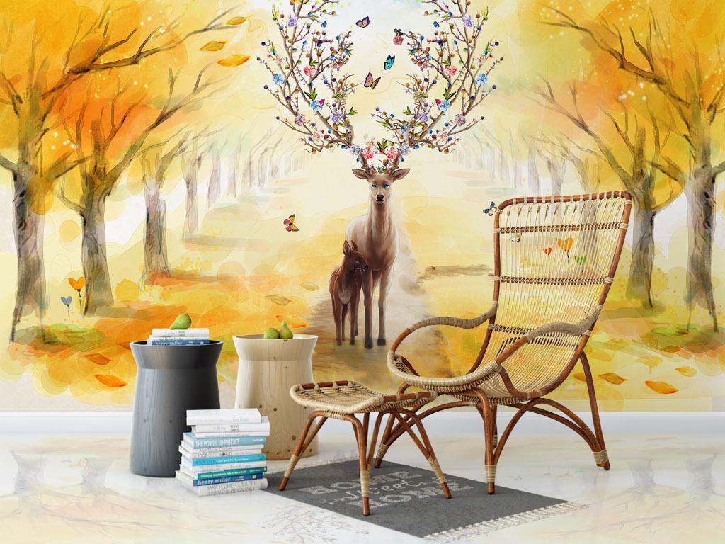 北欧麋鹿油画沙发背景墙(图片编号:16870796)_手绘墙
