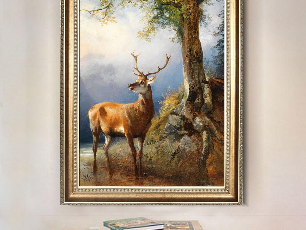 复古森林驯鹿麋鹿手绘油画装饰画无框画