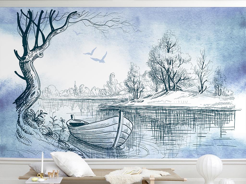 手绘线描简约大树风景电视背景