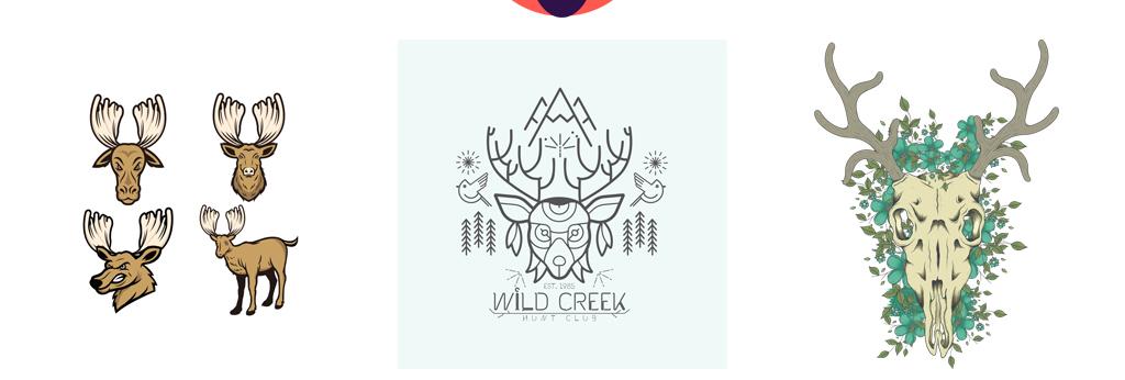 免抠元素 自然素材 动物 > 卡通手绘鹿头插画麋鹿装饰画梅花鹿角矢量