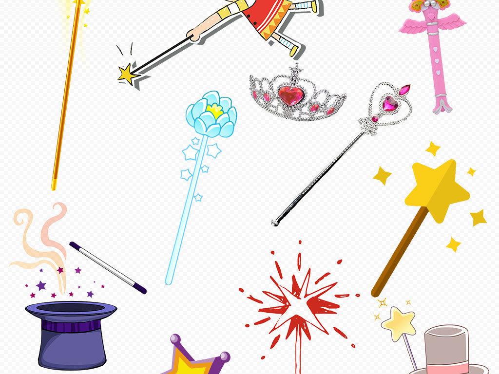 多款卡通手绘魔法棒图片背景png素材