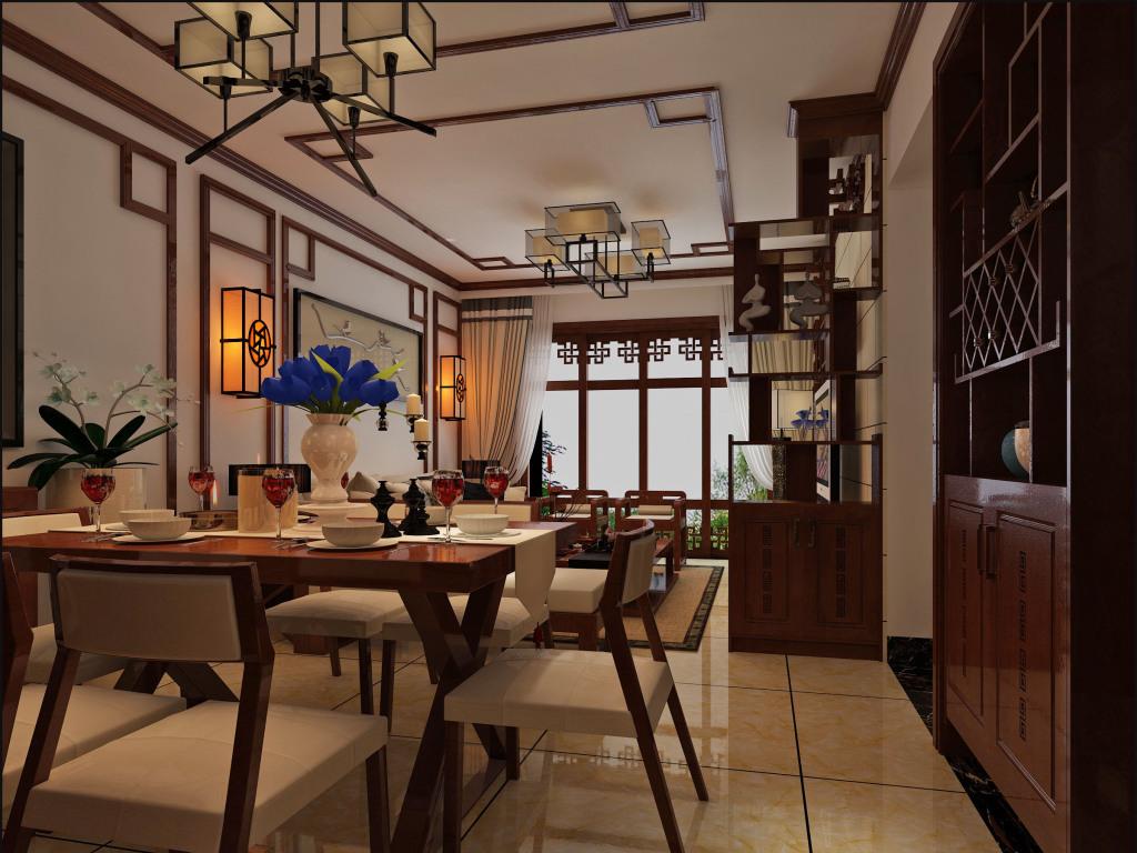 新中式大厅360度全景效果图