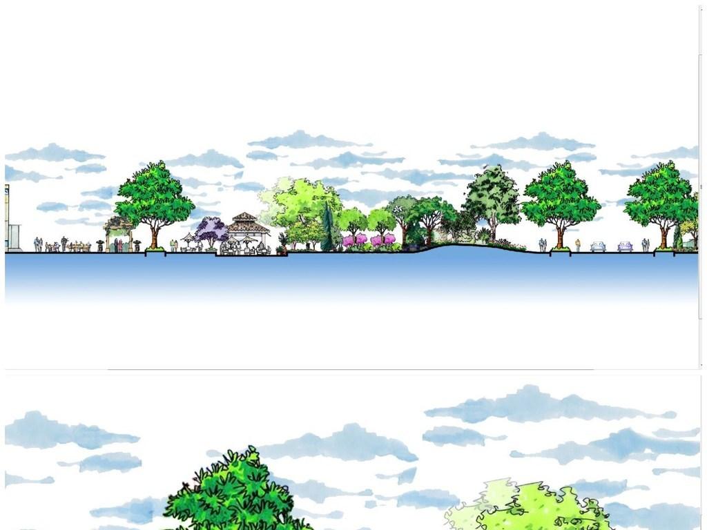 cad图库 彩色平面图 彩色立面图 > 景观公园手绘断面图psd分层素材