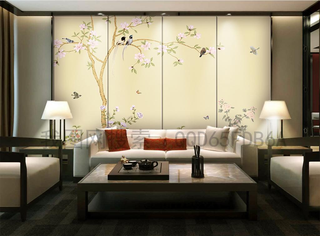 新中式玉兰花开富贵手绘工笔花鸟背景墙软包图片