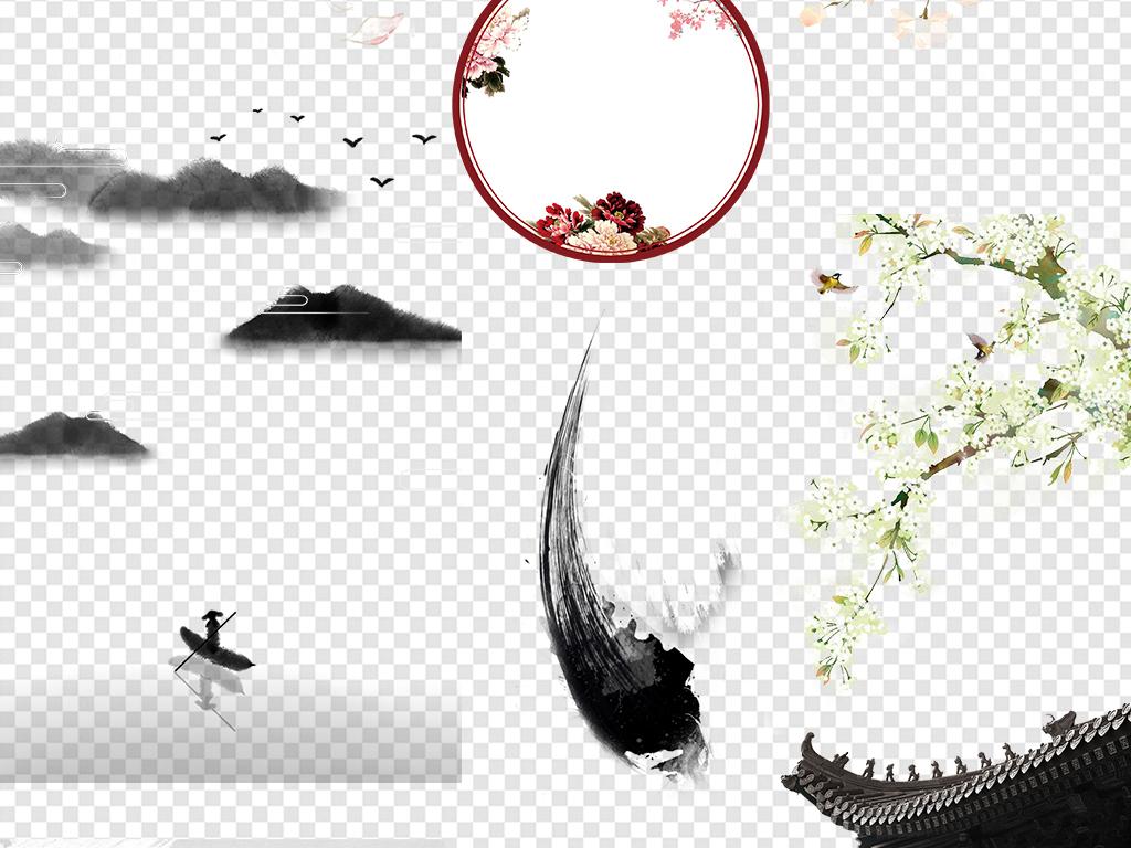 中国风古风风景画背景素材
