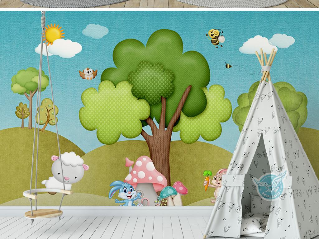 3d立体卡通森林动物乐园儿童房间背景墙