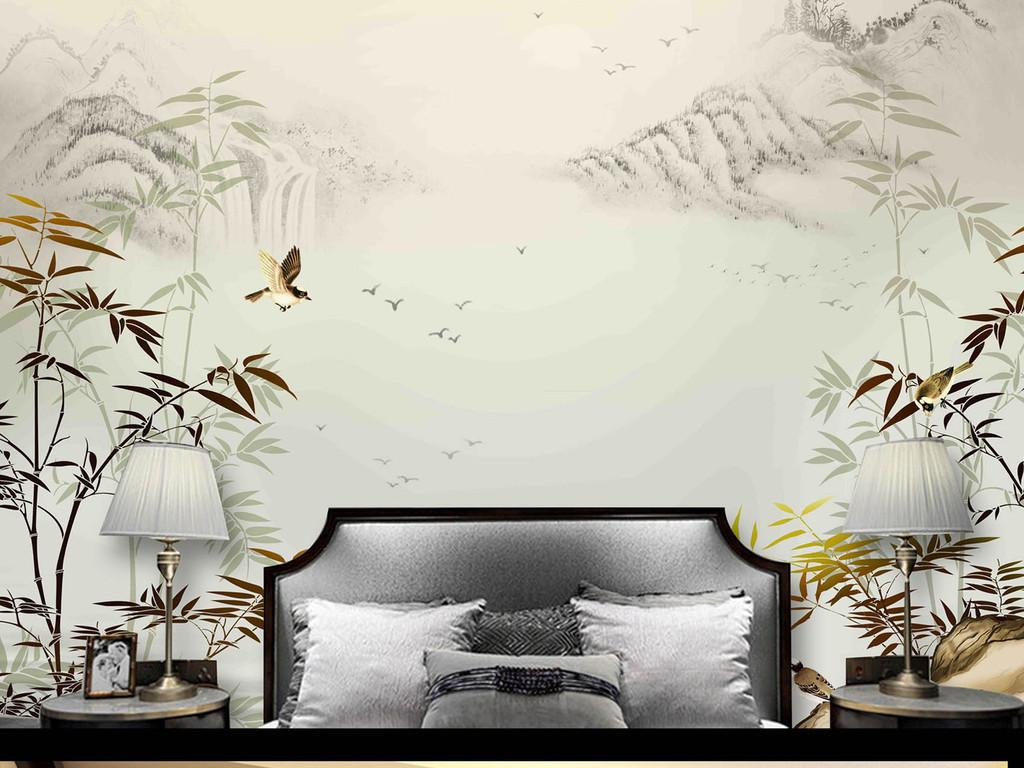 新中式手绘竹子山水竹报平安背景墙
