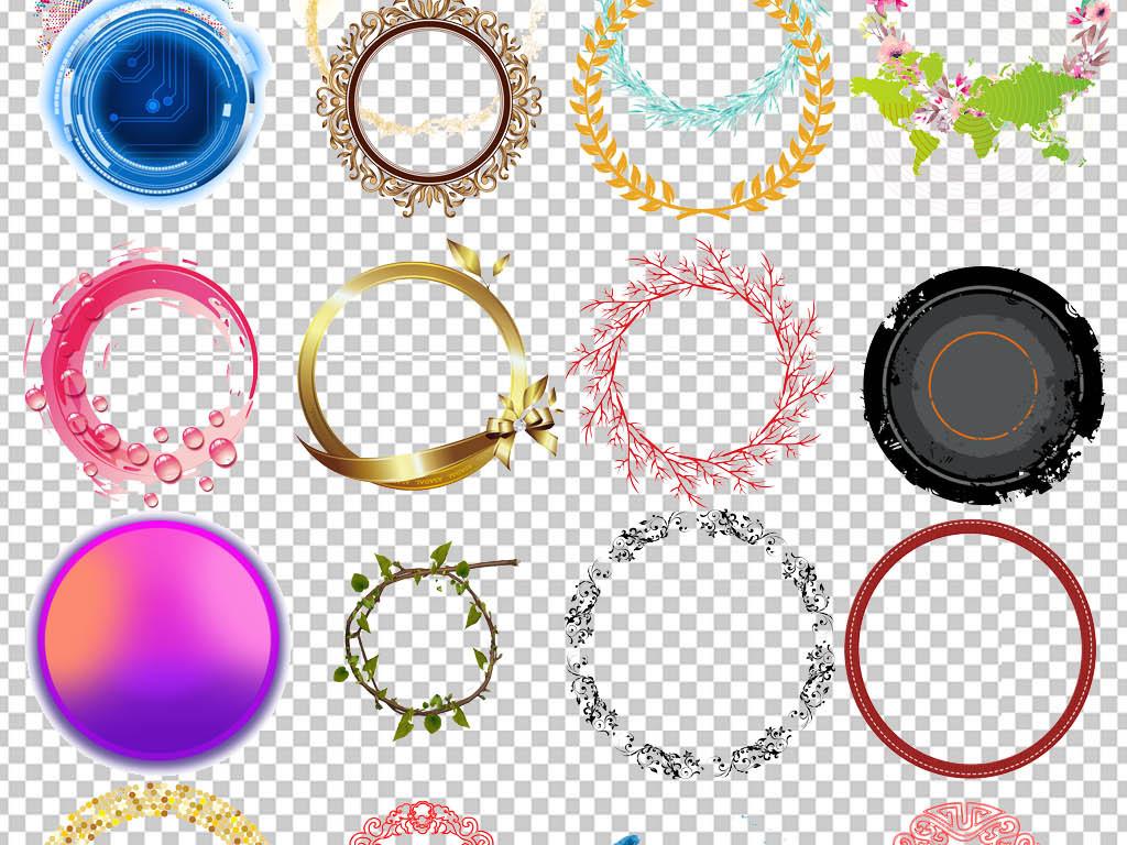 水墨中国风圆环圆形边框圆圈png背景素材图片
