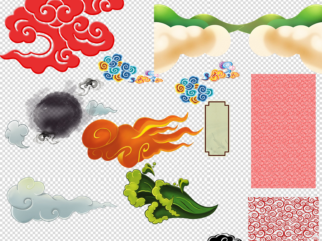 古典祥云中式边框条纹中国风png素材