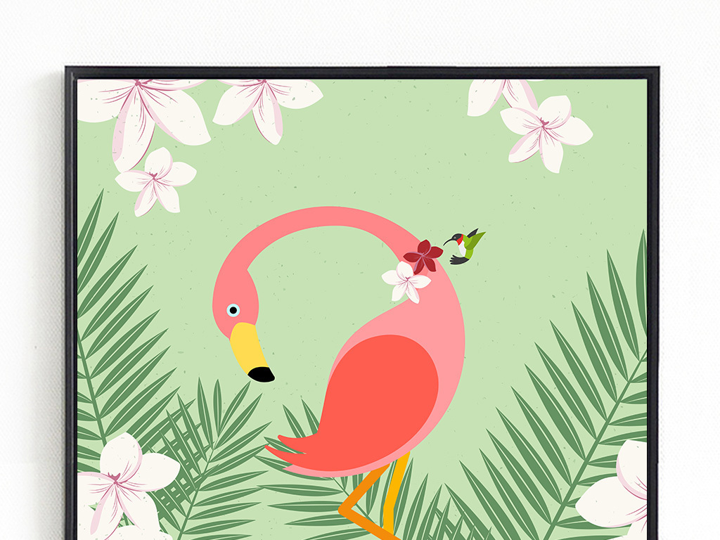 北欧清新火烈鸟动物装饰画