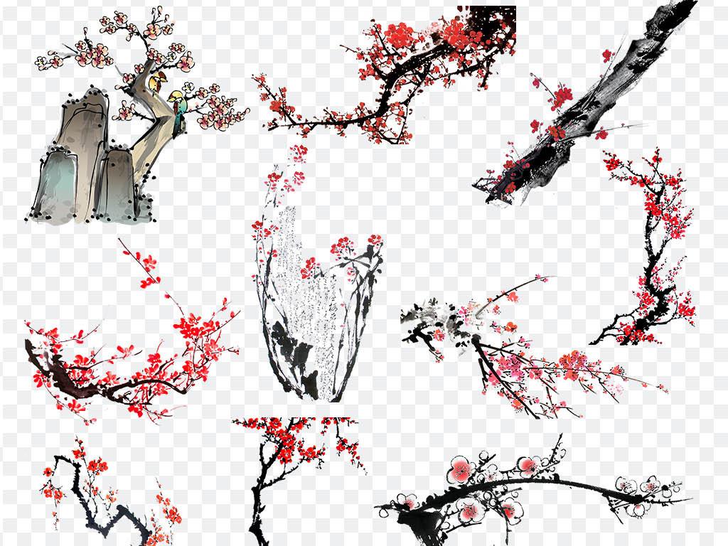 古典素材古典中国水墨中国梅花图片梅花竹子水墨画手绘梅花梅花背景墙