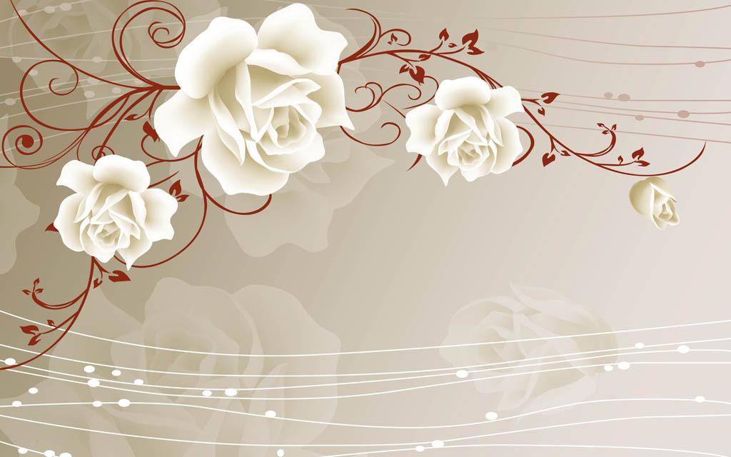 玫瑰花藤电视背景墙