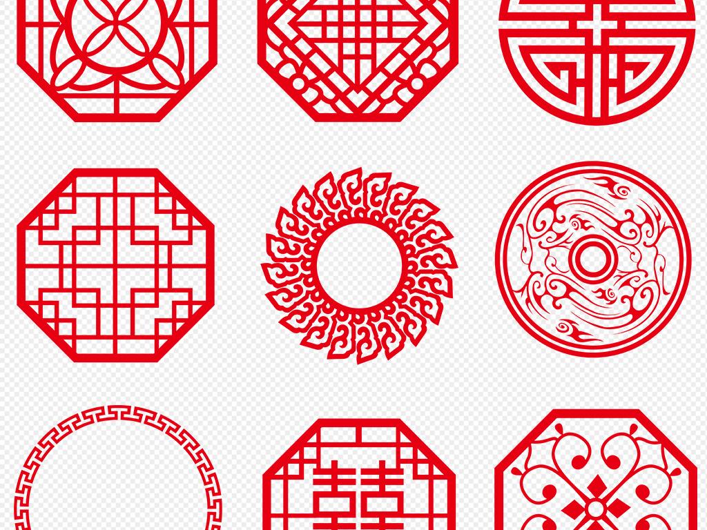 窗花红色边框青花瓷圆形边框卷轴png边框古典花边花边素材花纹中式