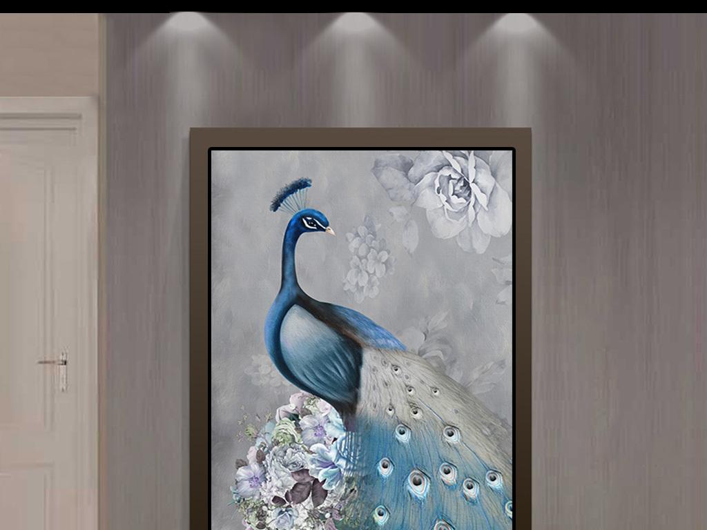 北欧手绘怀旧孔雀花瓶富贵玄关背景装饰画