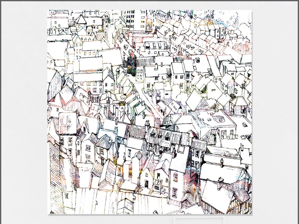 新中式手绘素描建筑城市街景装饰画无框画图片