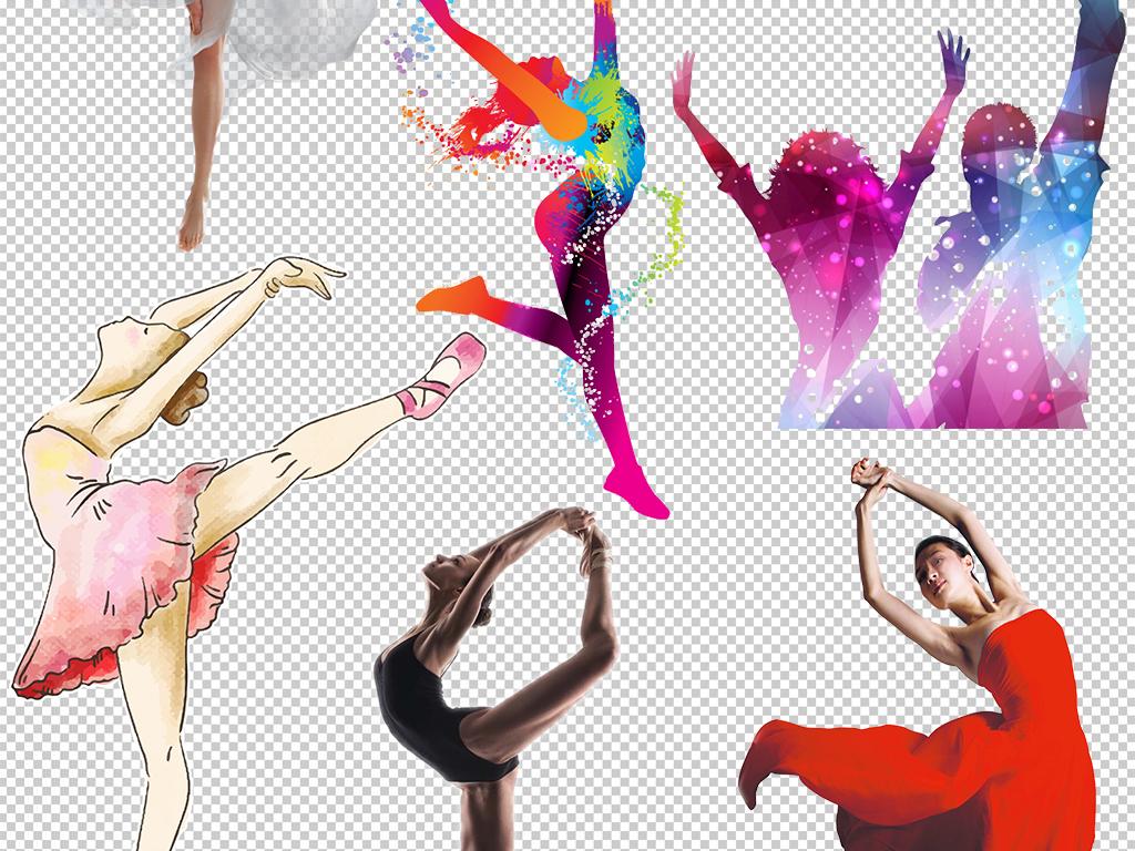 psd)芭蕾人物舞者卡通跳芭蕾女孩芭蕾舞女炫彩水墨优雅舞蹈女孩手绘芭