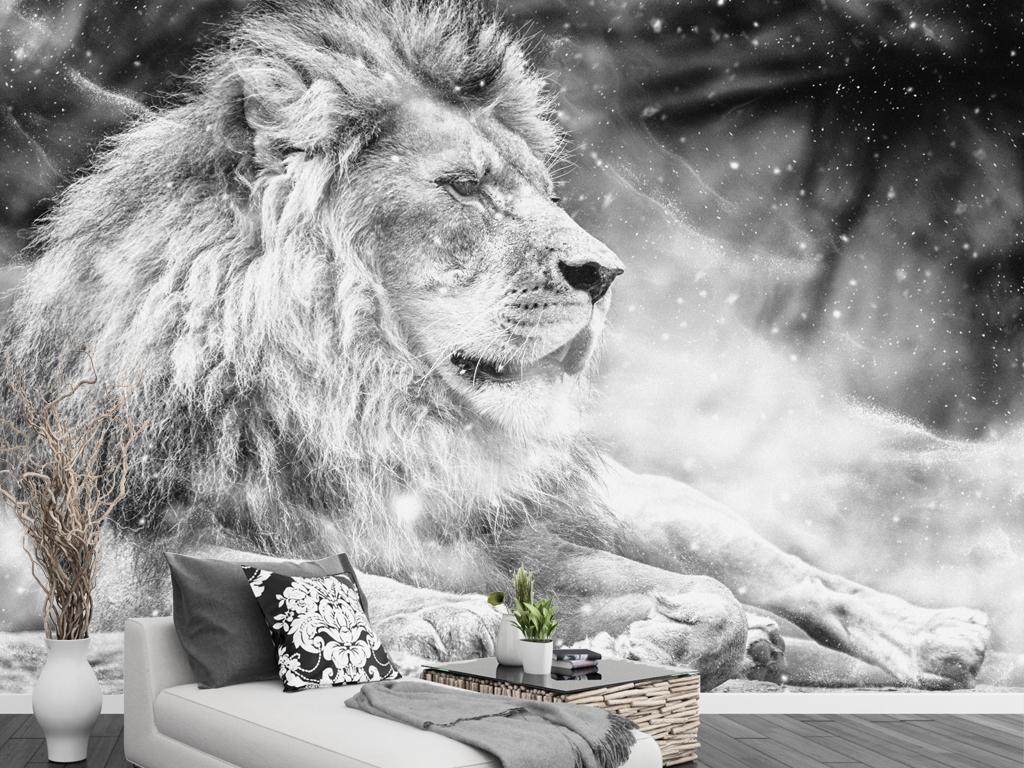 黑白风狮子王电视背景墙现代简约背景墙