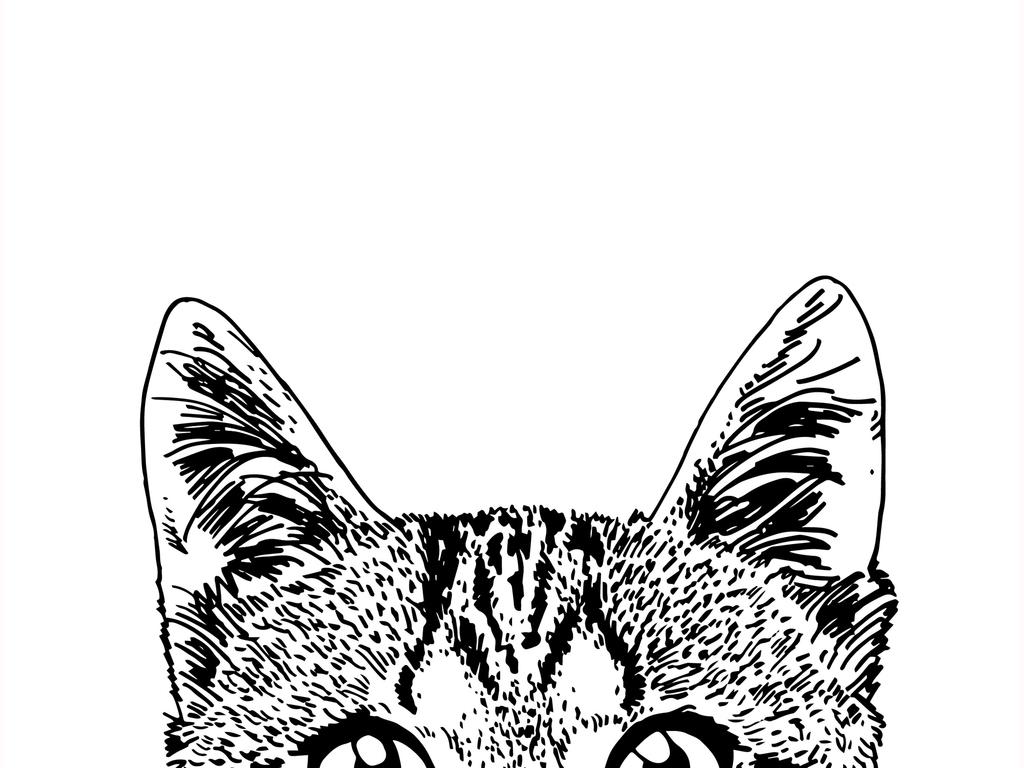 猫咪黑白简笔插画
